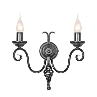 Harlech Medieval Style Double Wall Light in a Black Finish - ELSTEAD HR2/A BLK